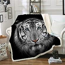 WONGS BEDDING La Cara del Tigre Impreso Manta Animal, impresión Digital, 100% Fibra, Terciopelo de Cristal Lateral A, Terciopelo de Lana Blanca B Lateral, 150 × 200 cm