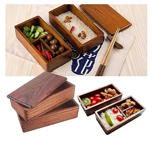 Japanische Bento Box Holz Lunchbox Doppelschicht Design Der Lunchbox Ermöglicht Es Ihnen Mehr Nahrung Zu Transportieren, Kontaminationen Zu Vermeiden Und Eine Wundervolle Picknickzeit Zu Haben