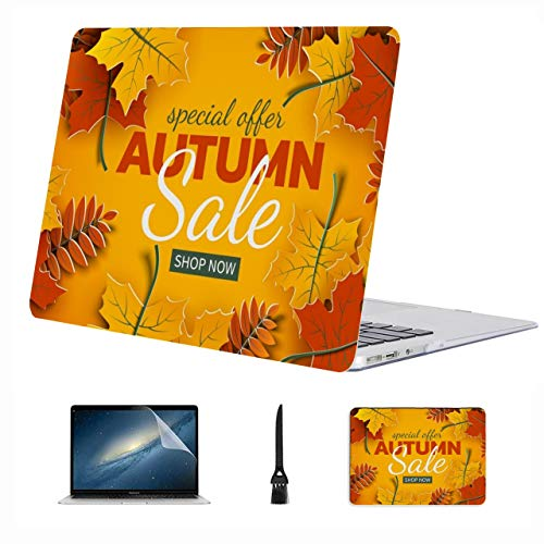4 in 1 Laptop Case for MacBook 13 inch New Pro USB-C 2020 A2289/A2251 Case,Plastic Hard Shell Case Cover and Mouse Pad & Screen Protector,Autumn Sale Banner 3D Paper Colorful