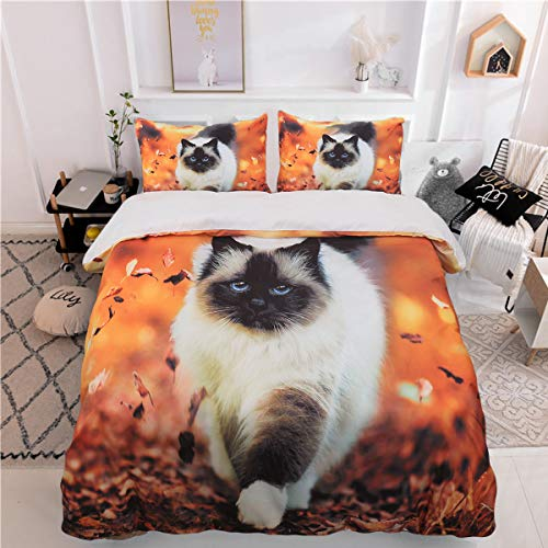WONGS BEDDING Bettwäsche 3D Birma Katze Bettbezug Set 135x200 cm Bettwäsche Set 2 Teilig Bettbezüge Mikrofaser Bettbezug mit Reißverschluss und 1 Kissenbezug 50x75cm
