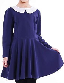 Giminuoワンピース 子供ドレス 女の子 ジュニア 学生制服 入学式 卒業式 七五三 長袖 白襟 フォーマル ニューモダンスタイルワンピース 上品 可愛い