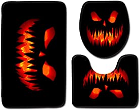 HOLD HIGH Halloween Bath Mats, 3PC Non Slip Washable Bathroom Carpets Bedroom Door Floor Rugs Doormats with Scary Hand Pumpkin Haunted House Witch, Pedestal Rug + Lid Toilet Cover + Bath Mat Set