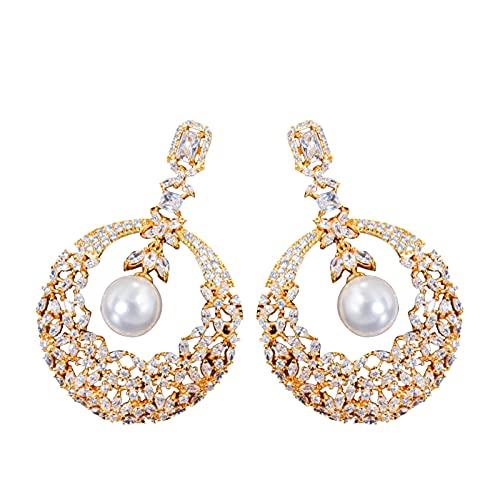 Xuefang Pendientes colgantes de perlas para mujer con diseño de flor hueca y perlas de circonita cúbica