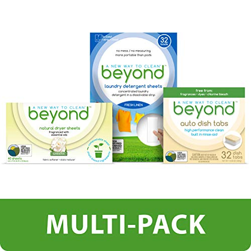 Beyond Natural Auto Dishwasher Tablets, Beyond Concentrated Laundry Detergent Sheets and Beyond Natural Dryer Sheets. (Home Cleaning Value Pack)