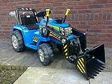 Indalchess 12V Kindertraktor mit elterlicher Fernbedienung, blau