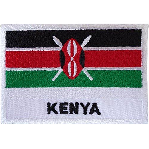 Kenia-Flagge, Aufnäher zum Aufbügeln oder Aufnähen, afrikanische Afrika, Nairobi, bestickt