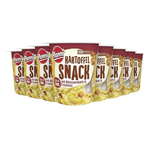 Pfanni Kartoffel Snack ideal für zwischendurch mit Röstzwiebeln & Croutons aus nachhaltiger Landwirtschaft 8er Pack ( 8 x 56 g )