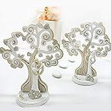 Statuette stilizzate a forma di sposi in resina e legno con albero della vita e scritta 'Amore', assortiti in 2 varianti, bomboniere nozze, anniversario (Grande-con confezione bianca)