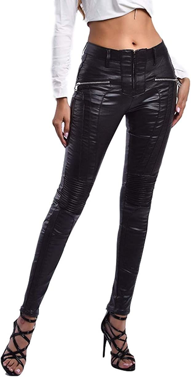 Aozu Sexy PU Black Challenge 67% OFF of fixed price the lowest price Pants Women Skinny Faux Leather Fake Zippers