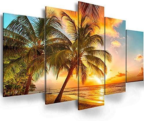 Golden Seascape Ocean Beach Wall Art Cozy Sea Artwork Modern Ocean Sunset Sea Beach Canvas Prints product image