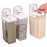 3Packungen Müsli Behälter versiegelt Lebensmittel Behälter Gläser Kunststoff BPA-frei versiegelt Feuchtraum 2kg mit Messbecher für Reis Mehl Zucker Snacks Tiernahrung