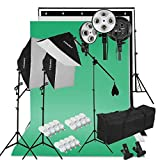 Kit Éclairage Studio Photo, Kit Studio Photo avec 3 Softbox avec 4 Douilles + 12x45W...