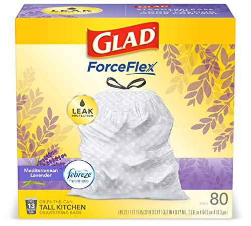 Glad ForceFlex Tall Kitchen Drawstring Trash Bags 13 Gallon White Trash Bag, Mediterranean Lavender...