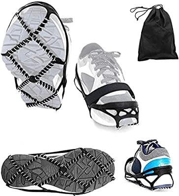 Ice Cleats,Highly elastic Traction Cleats Grippers with magic tape Strap and Storage Bag Anti Slip Walk Traction Cleats for Hiking Walking on Snow and Ice(L: Women10-15/Men9-13/foot length 255-297 mm)