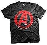 The Avengers Oficialmente Licenciado Distressed A Logo 3XL, 4XL, 5XL Hombre Camiseta (Negro), 5X-Large