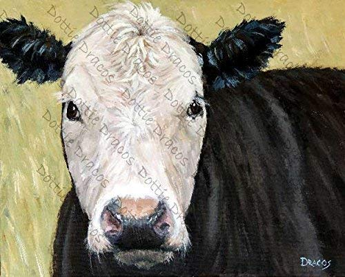 Amazon Com Cow Art Print Angus Mix Black With White Face On Grassy Field Background Print Of Original Painting By Dottie Dracos Watermark Not On Your Print Handmade