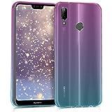 kwmobile Funda Protectora Compatible con Huawei P20 Lite - Carcasa Bicolor Rosa Fucsia/Azul/Transparente