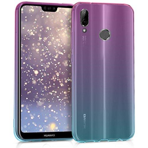 kwmobile Custodia Compatibile con Huawei P20 Lite - Back-Cover Anti-Urto Fucsia/Blu/Trasparente in Morbido Silicone - 2 Colori
