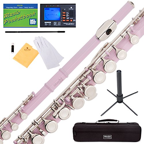 Mendini by Cecilio Premium Grade Closed Hole C Flute with Stand, Book, Deluxe Case and Warranty (Pink)