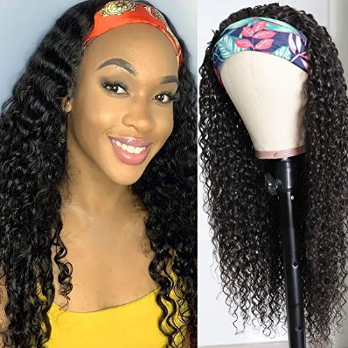 Beauty Forever Headband Human Hair Wig Jerry Curly Glueless Human Hair Scarf Wigs With Pre-attached Scarf Non Lace Wigs for women Wear and Go Wig No Glue No Sew In Natural Color 150% Density 16 Inch