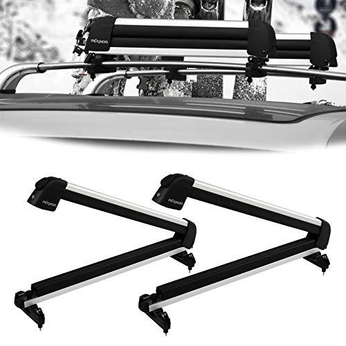 Bonnlo 31' Ski Snowboard Car Racks Fits 4 Pairs of Skis or 2 Snowboards, Aviation Aluminum Universal...