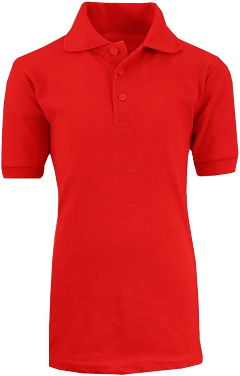 Boys School Uniform Short Sleeve Polo Shirts44; Red - Size 8-18 - Case of 36-36 Per Pack