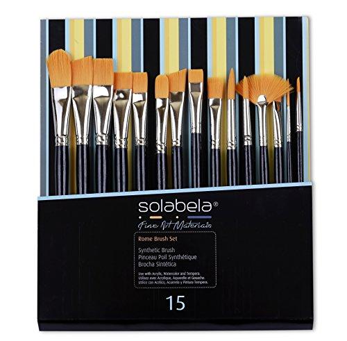 Solabela Pennelli da Artista. Confezione da 15 – Set di pennelli da Artista Roma