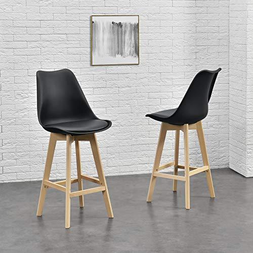 [en.casa] Design barkruk set van 2 kunstleer en beuken poten zwart
