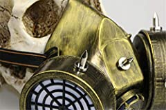 Ulalaza Steampunk Gas Goggles Mask Retro Gothic Punk Zombie Soldiers Skull Mask for Halloween Cosplay Props #5