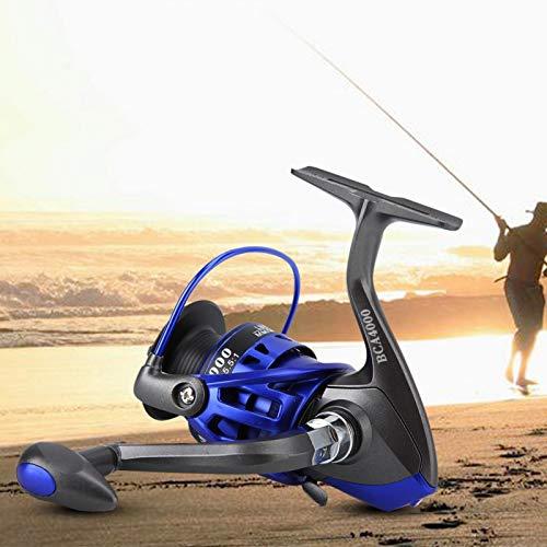 DAUERHAFT Carrete de Pesca Giratorio con Revestimiento Vivo Conveniente y Duradero, para Pescar, con Mango de Metal(BCA4000)