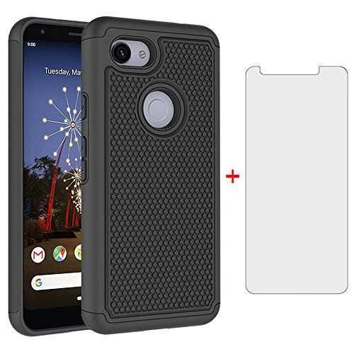 Phone Case for Google Pixel 3a XL with Tempered Glass Screen Protector Cover and Cell Accessories Hard Hybrid Slim Rugged Silicone Rubber TPU Pixel3aXL Pixle 3aXL A3 Pixel3a LX Cases Women Men Black