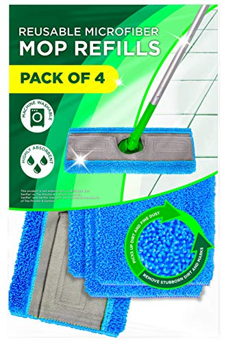 Microfiber Mop Pads Compatible with Swiffer Sweeper, Pack of 4