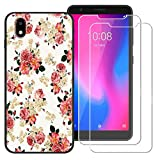 BestAlice for ZTE Avid 579 / ZTE Blade A3 2020 Case with 2 Pcs Tempered Glass Screen Protector,Slim Soft TPU Protective Rubber Bumper Cover, White Flower