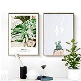 Verde nórdico planta arte de la pared Carteles de lienzo Impresiones de la pintura Imágenes del paisaje para la sala Morden contrató el arte Decoración del hogar-50x70cmx2 Sin marco