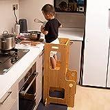 Taburete de cocina para niños, plataforma de aprendizaje para niños, altura ajustable con riel de seguridad, madera maciza, barnizado