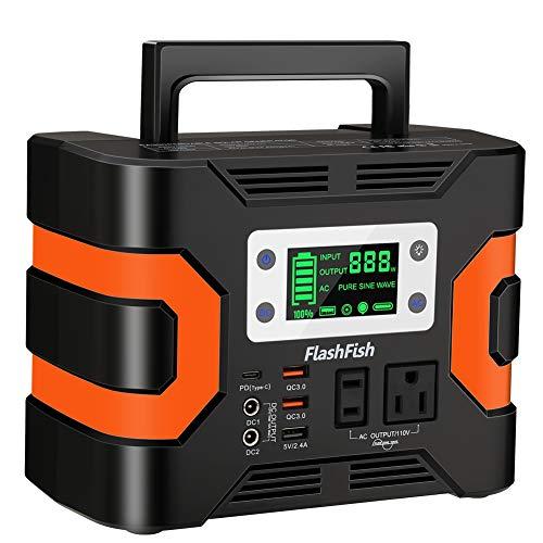 FlashFish ポータブル電源 大容量 81000mAh/300Wh AC(330W 瞬間最大380W) DC(168W) 家庭用蓄電池 タッチボタン設計 小型発電機 USB出力 純正弦波 急速充電QC3.0 Type-C搭載 三つの充電方法 ソーラー