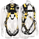 WELKFORDER 3D-Rings Industrial Fall Protection Safety Harness With Leg Tongue Buckles | Shoulder Pad Support ANSI Compliant Full Body Personal Protection Equipment