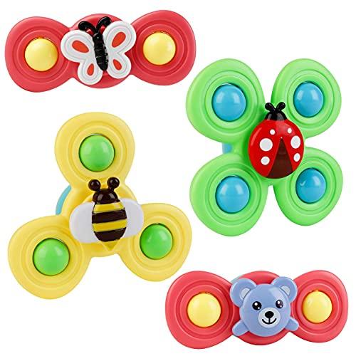 Muitar Copa de succión Spinning Top Toy Baby Bath Toy 4 PCS, Spin Sucker Spining Top Spinner Toy Early Learner Juguetes para bebés Juguetes