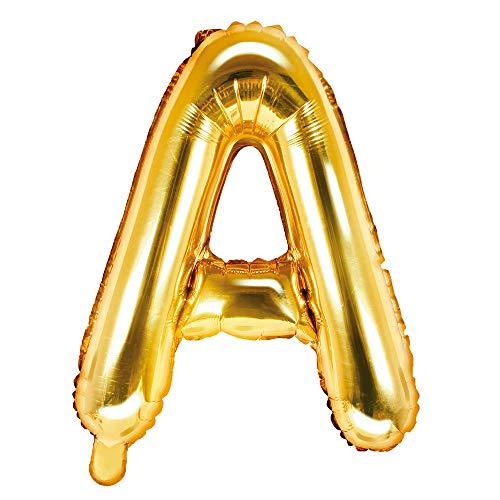 DekoHaus Folienballons Buchstaben / Zahlen Höhe 35 cm Farben: Gold oder Silber (A, Gold)