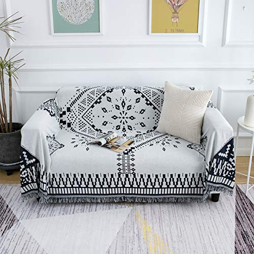 MayNest Scandinavian Throw Blanket Minimalist Home Decor Tassel Reversible Double-sided Woven Geometric Tapestry Vintage Design Bed Sofa Couch Cover Cotton Carpet Rug Chair Recliner Loveseat (L:91x71)
