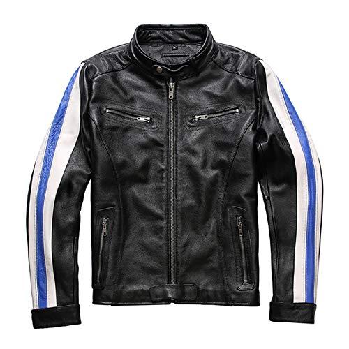 Chaqueta Cuero para Hombre Moto Abrigo Motocicleta PU Vintage Negocio Abarcadero Primavera Abrigo Suave Casual Outcoat Racer Outwear