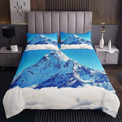 Homemissing Fuji Mountain Coverlet japonés Ukiyoe colcha acolchada para niños y niñas estilo japonés juego de colcha de montaña nieve estilo exótico decoración de la habitación 3 piezas tamaño doble