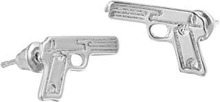 Unisex Sterling Silver Plated Smooth Face Pistol Gun Charm Stud Earring