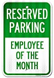 UT-TP Reserved Parking Signo Employee of The Month Office Signos, Large Aluminum, Easy Mounting