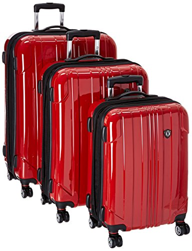Here's the stunner. A red hardside luggage set, tough on the outside but looks fantastic with all the features you'd expect.