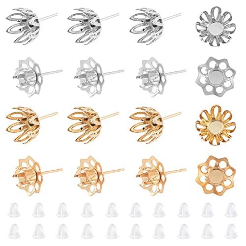 UNICRAFTALE Alrededor de 40 Pieza 4 Estilos Pendientes de Flores Componentes Bandeja de 5 mm Pendientes de Acero Inoxidable 2 Colores Pendientes Hipoalergénicos Joyería con Pendientes de 10-19 mm
