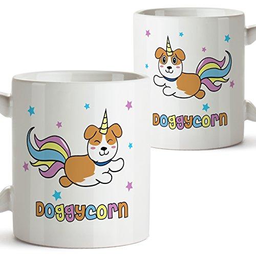 Doggycorn Becher/Tasse (auf Englisch) - Original und lustiges Geschenk für Hunde und Einhorn Liebhaber - Kaffeetasse - Keramik 11 Unzen / 350 ml