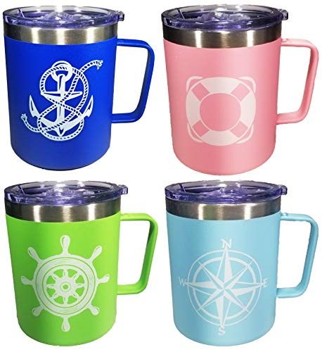 XYZ Boat Supplies –Nautical Design - Boat, Pool, Camping or RV - 4 Piece Stainless Steel Insulated Coffee Mug Set- Perfect Boating, Sailing, Fishing, The Pool, The Beach and More