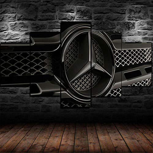 hgjfg Leinwanddrucke Leinwandbilder XXL 5 Teilig Mercedes Benz Logo Schwarz Hd Gedruckt 5 Stücke Leinwand Wandkunst Malerei Modulare Tapeten Poster Drucken Moderne Wohnzimmer Wohnkultur