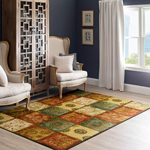 Mohawk Home Free Flow Artifact Panel Multi Transitional Patchwork Printed Area Rug, 4x6, Orange & Teal